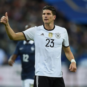 PARIS, FRANCE - NOVEMBER 13:  Mario Gomez of Germany gestures during the International Friendly match between France and Germany at the Stade de France on November 13, 2015 in Paris, France.  (Photo by Matthias Hangst/Bongarts/Getty Images)