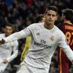 TOPSHOT - Real Madrid's Colombian midfielder James Rodriguez celebrates after scoring  during the UEFA Champions League round of 16, second leg football match Real Madrid FC vs AS Roma at the Santiago Bernabeu stadium in Madrid on March 8, 2016. / AFP / GERARD JULIEN        (Photo credit should read GERARD JULIEN/AFP/Getty Images)